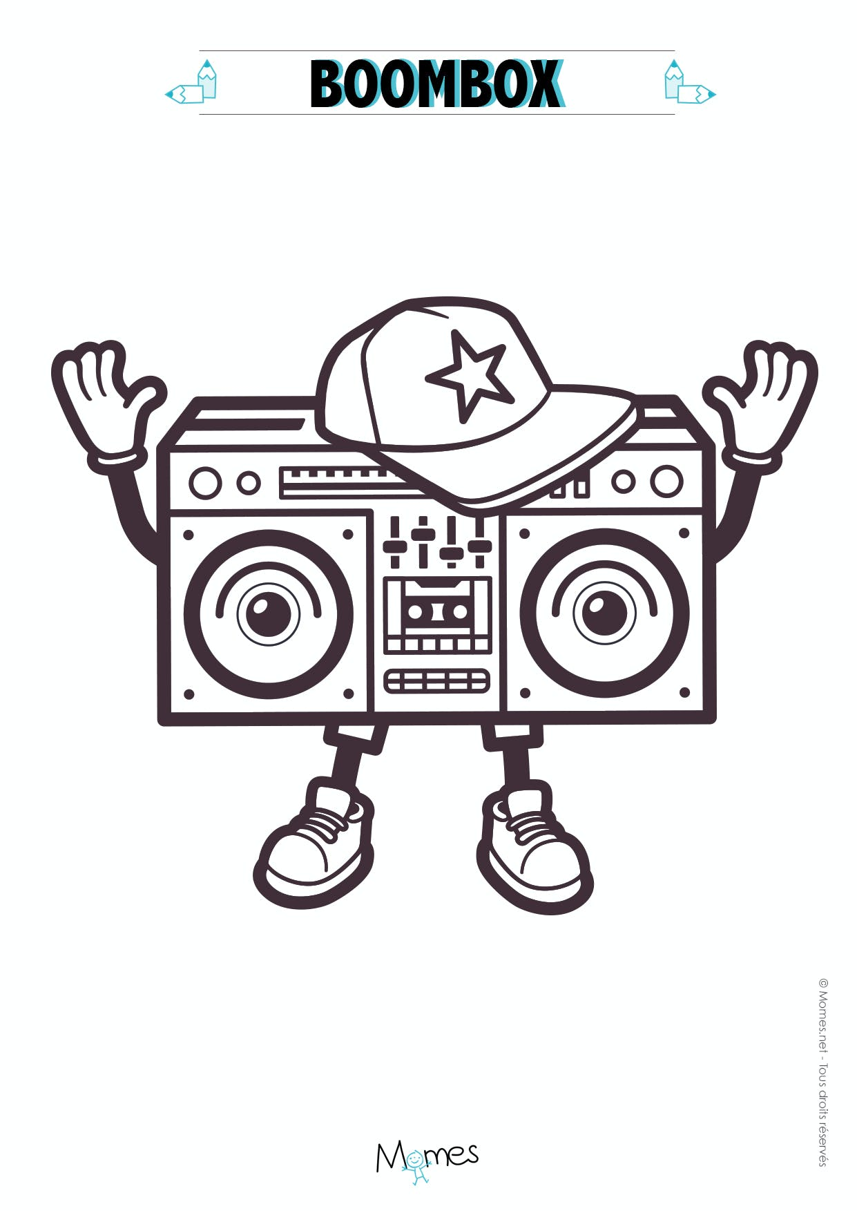 Coloriage ghetto blaster - Coloriage hip hop ...