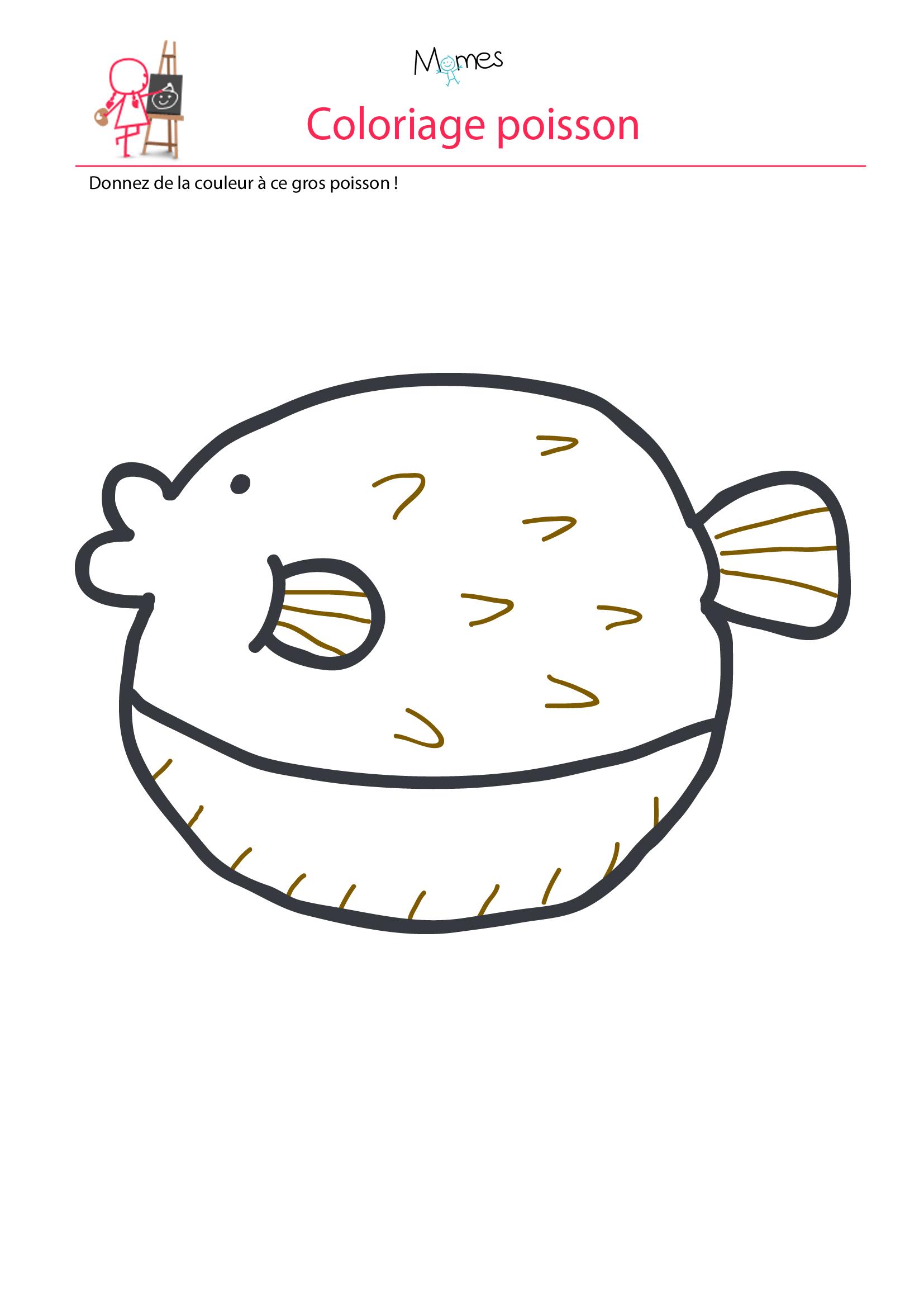 Coloriage gros poisson à imprimer