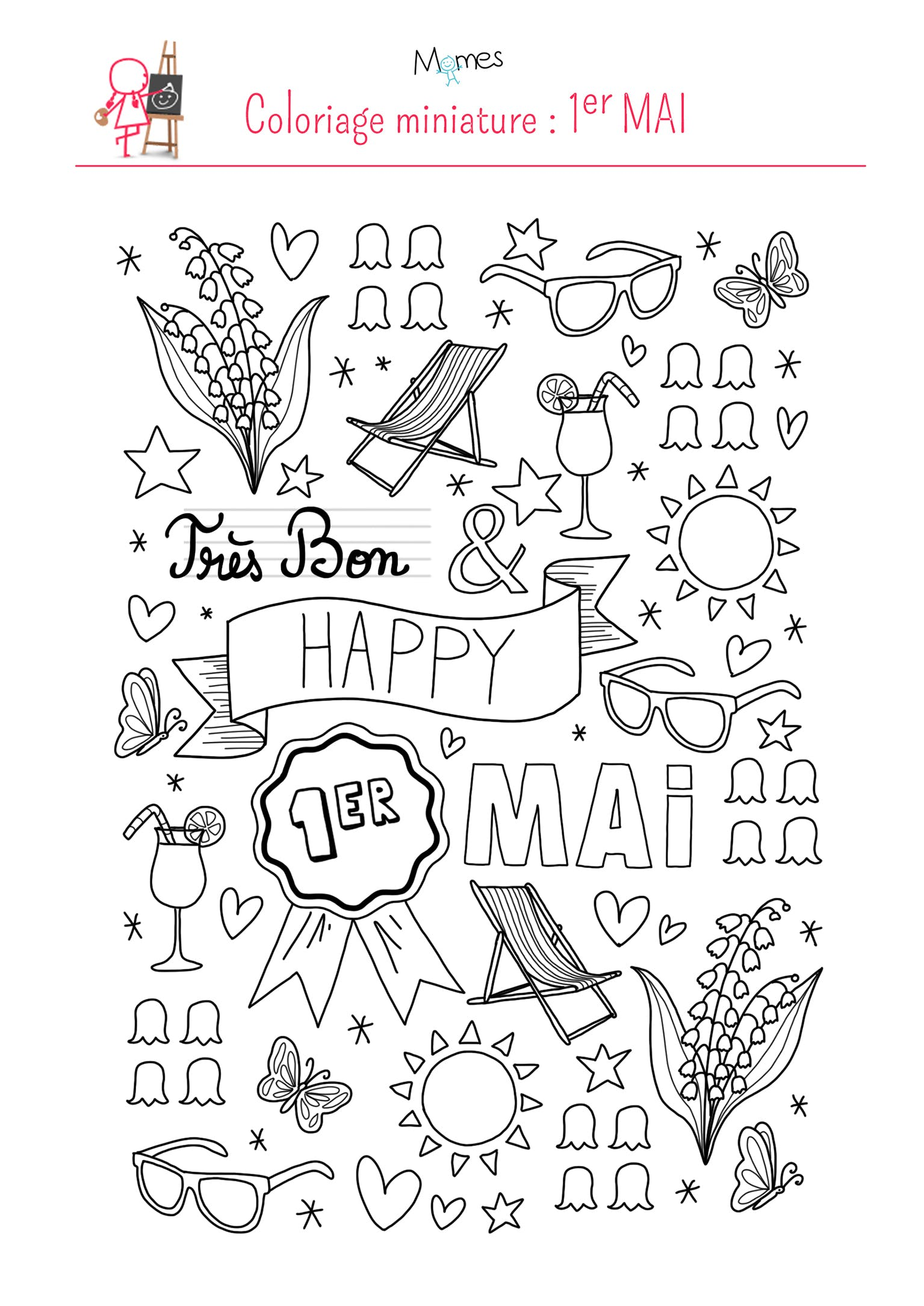 Coloriage happy 1er mai - Coloriage muguet ...