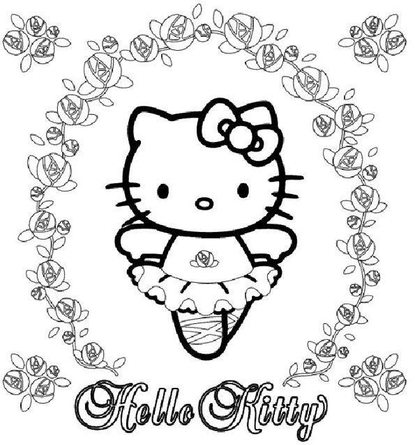 Coloriage hello kitty 6 - Coloriage hello kitty fleurs ...