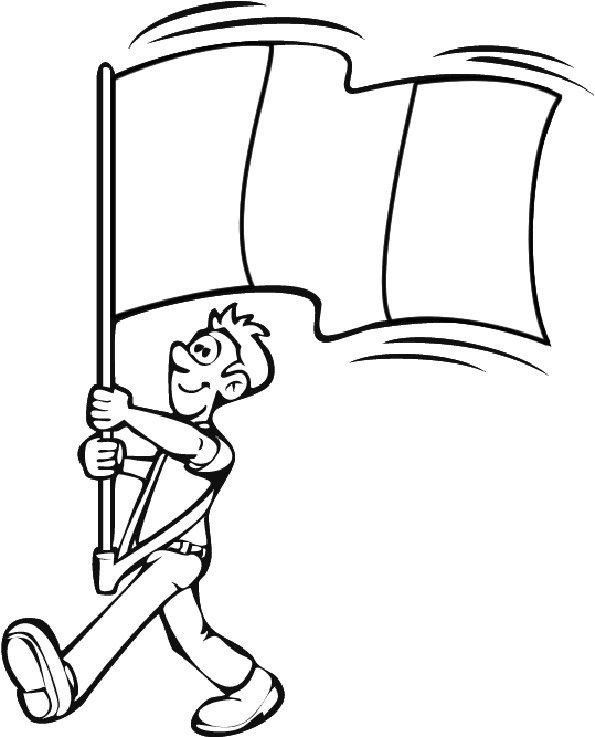Coloriage homme au drapeau