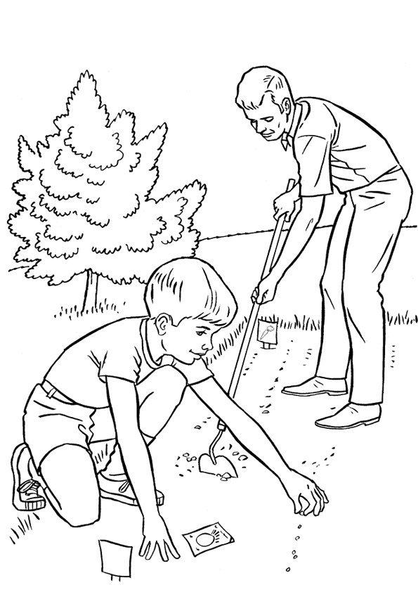 Coloriage jardiner avec papa