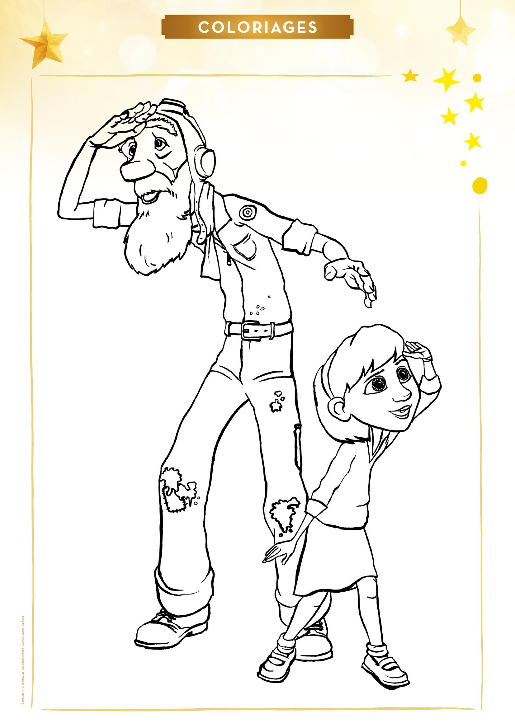 Coloriage L'Aviateur et la Petite Fille
