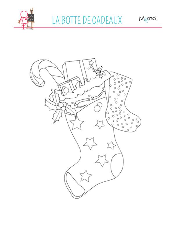 Dessin Botte De Noel.Coloriage La Botte De Cadeaux Momes Net