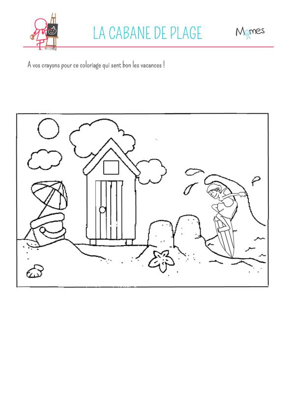 Coloriage la cabane de plage - Coloriage de cabane ...