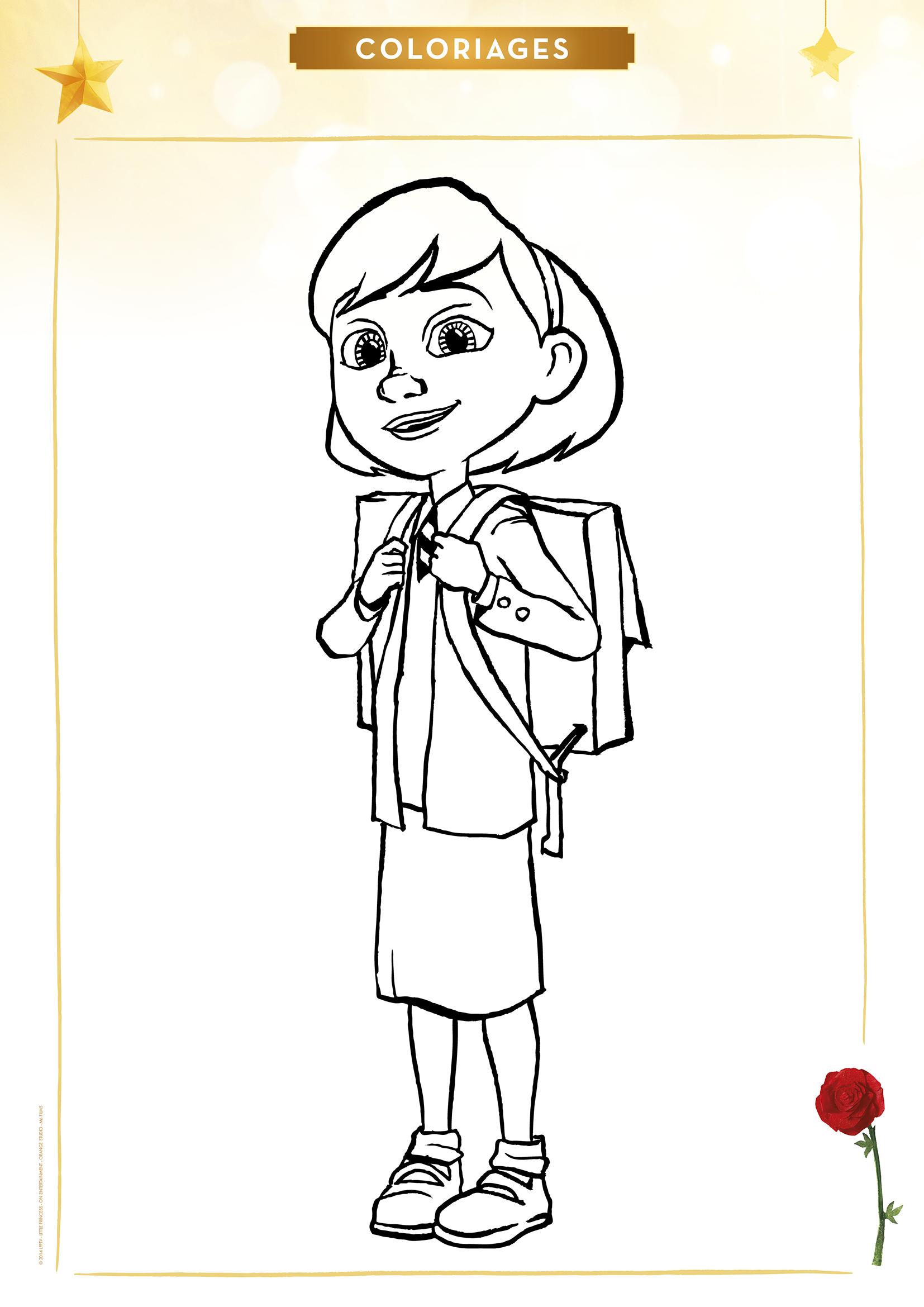 Coloriage la Petite Fille à l'école