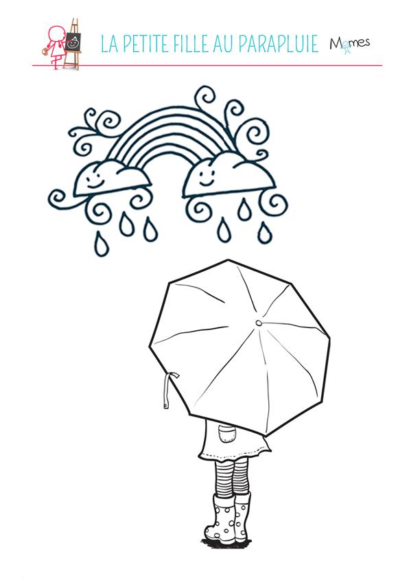 coloriage la petite fille au parapluie momesnet - Dessin De Petite Fille