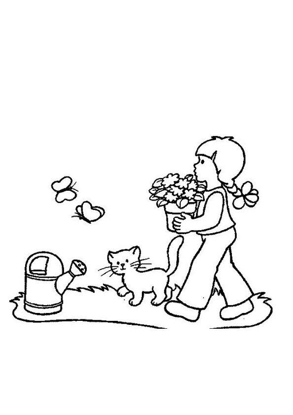 Coloriage la petite fille et le chat for Jardin dessin