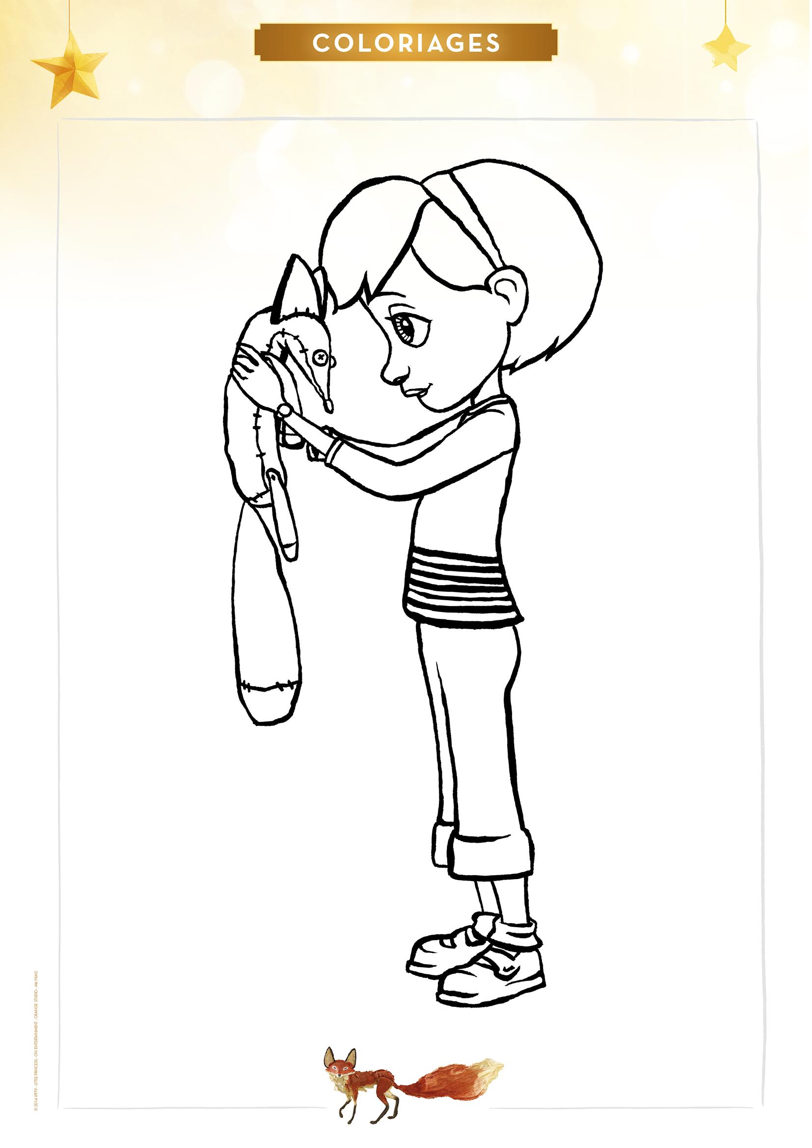Coloriage la petite fille et le renard - Renard en dessin ...