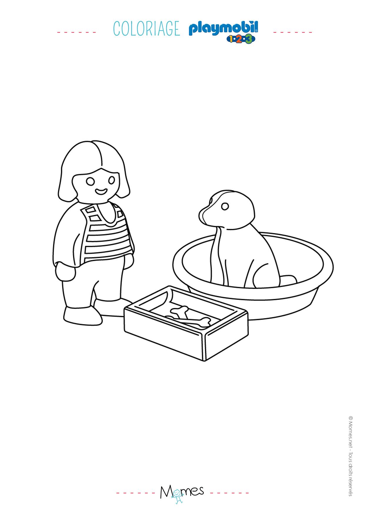 coloriage la petite fille et son chien playmobil 123. Black Bedroom Furniture Sets. Home Design Ideas
