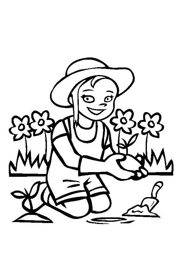 Coloriage la petite jardinière - Momes.net