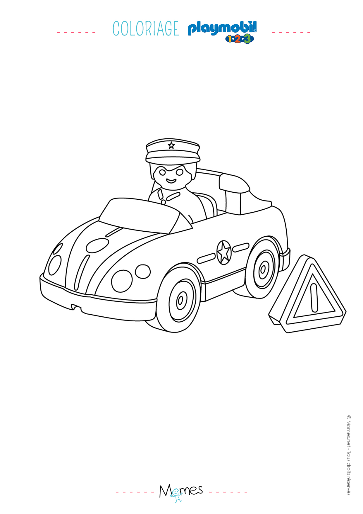 Coloriage La voiture de police et le policier Playmobil 123