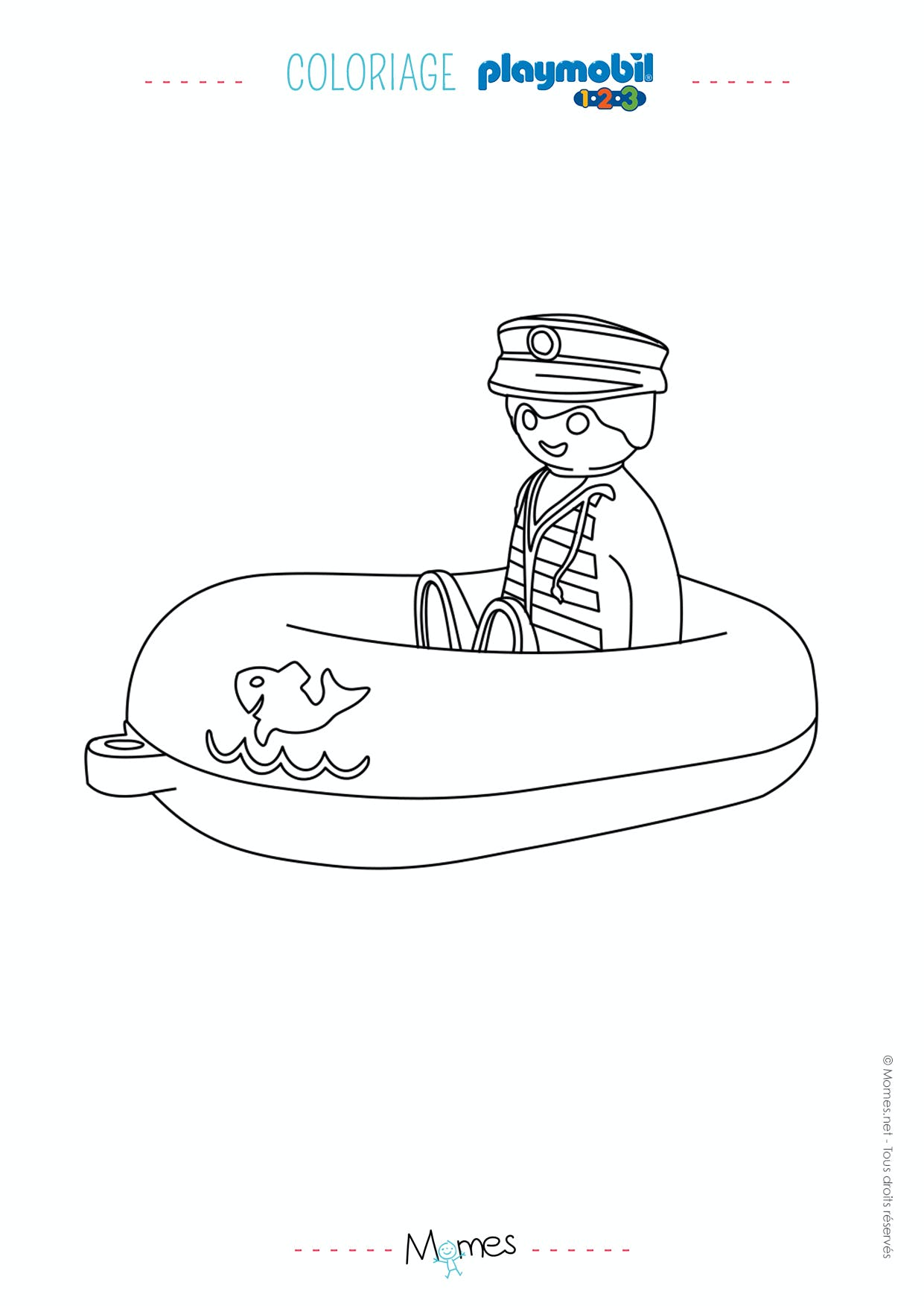 Coloriage le bateau et son capitaine playmobil 123 - Coloriages a colorier ...