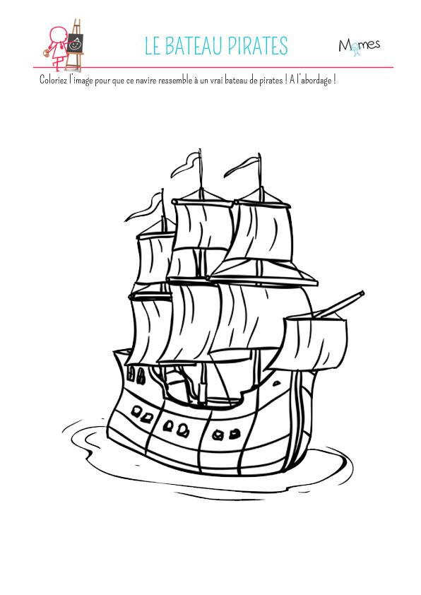 Coloriage le bateau pirates - Bateau de pirate dessin ...
