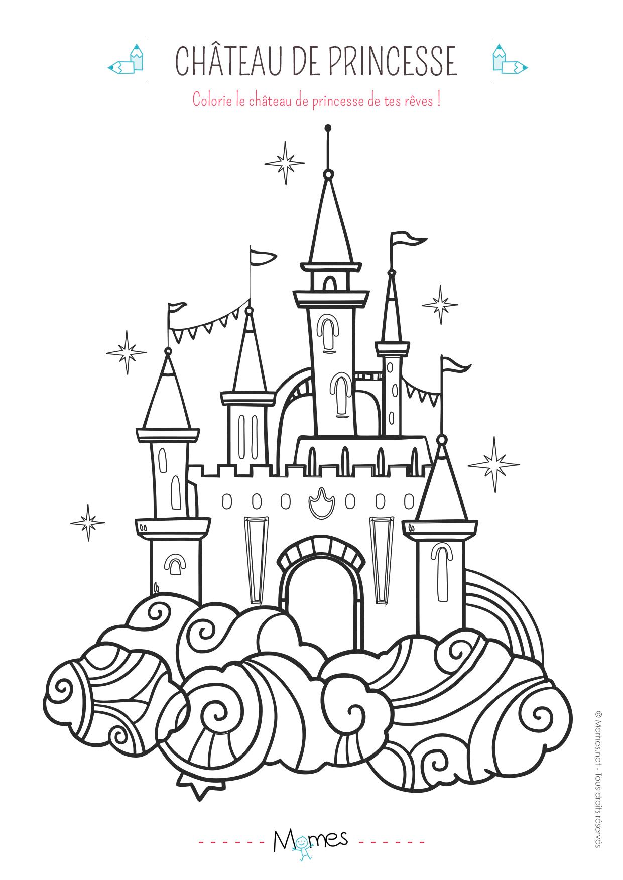 Coloriage Dun Chateau De Princesse.Coloriage Le Chateau De Princesse Momes Net