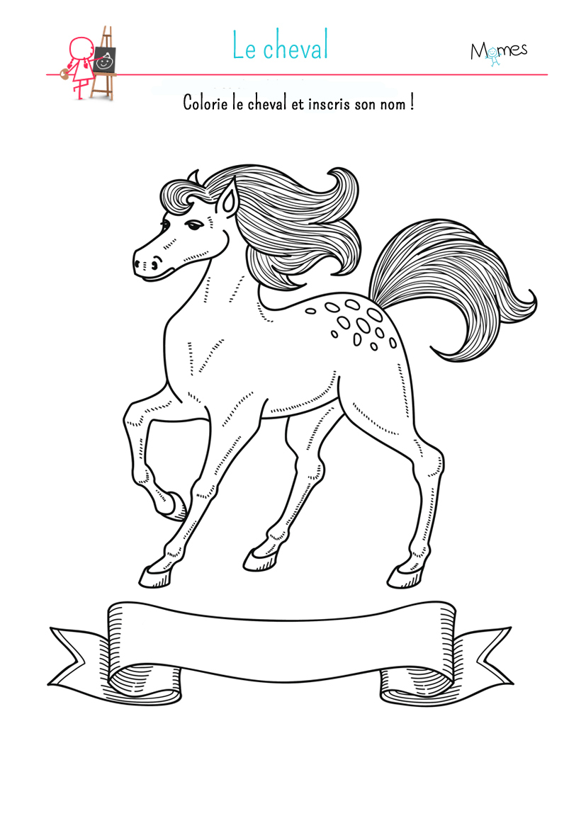 Coloriage Le cheval - Momes.net