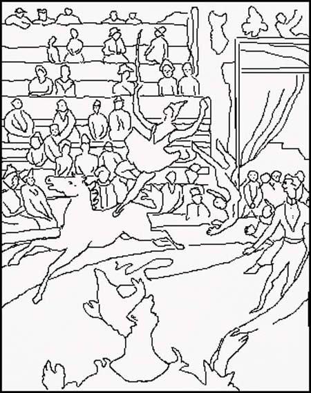 Coloriage Le cirque, d'après Georges Seurat