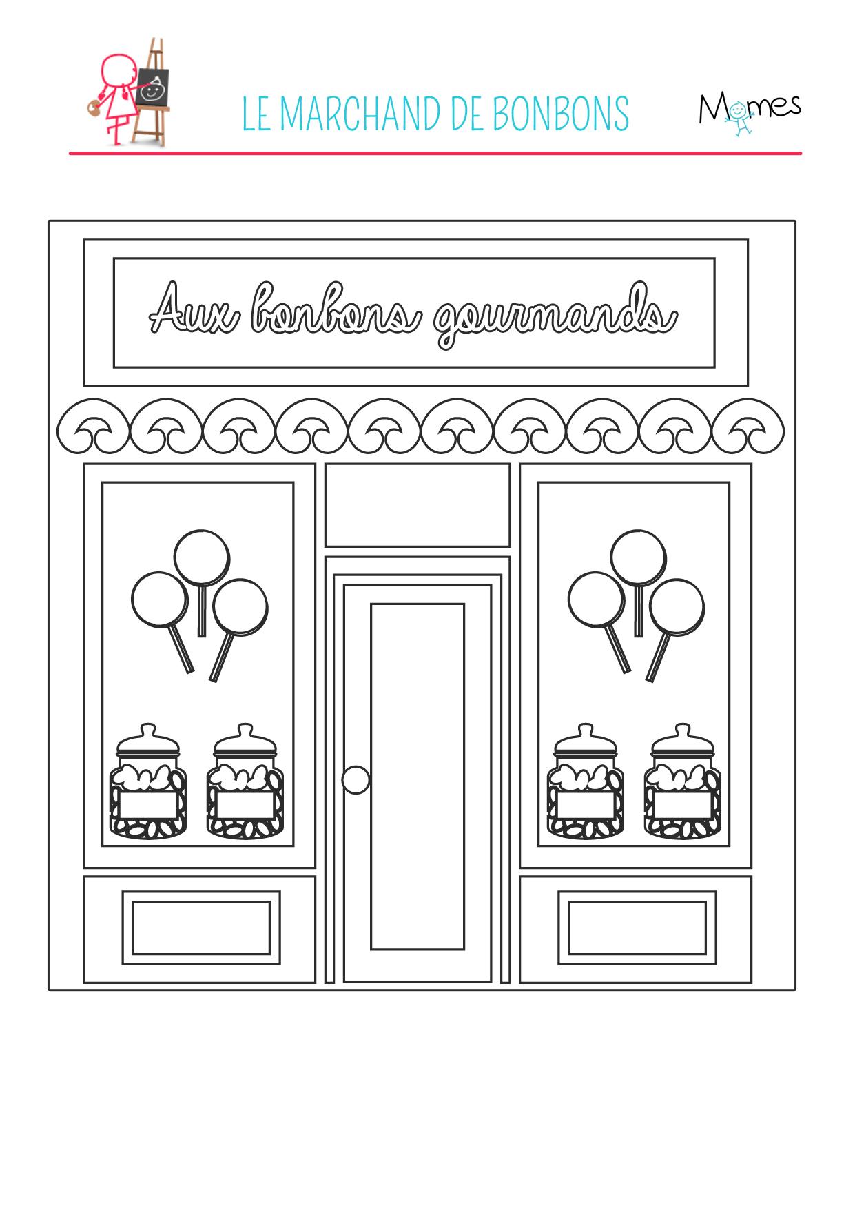 Coloriage le magasin de bonbons - Jeux et coloriage ...