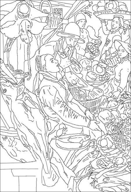 Coloriage Le marché aux poissons, d'après Joachim Beuckelaer.