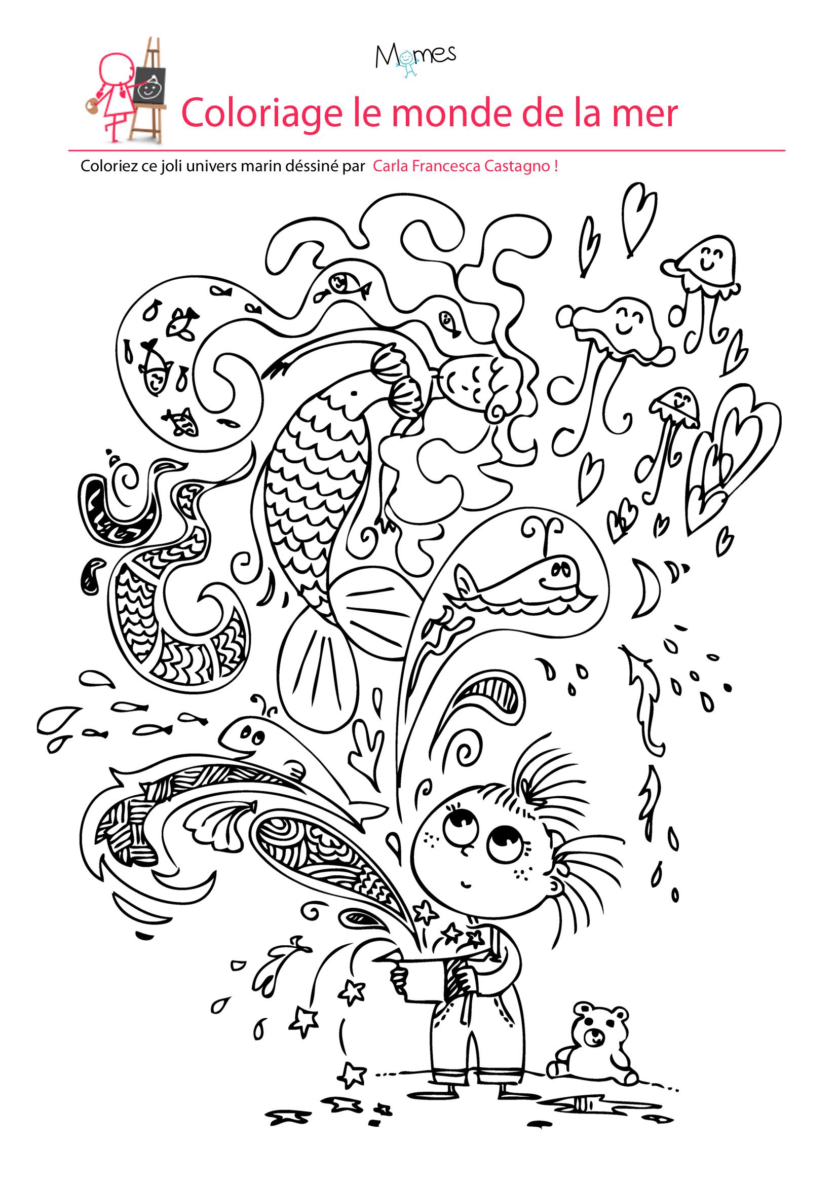 Coloriage le monde de la mer à imprimer