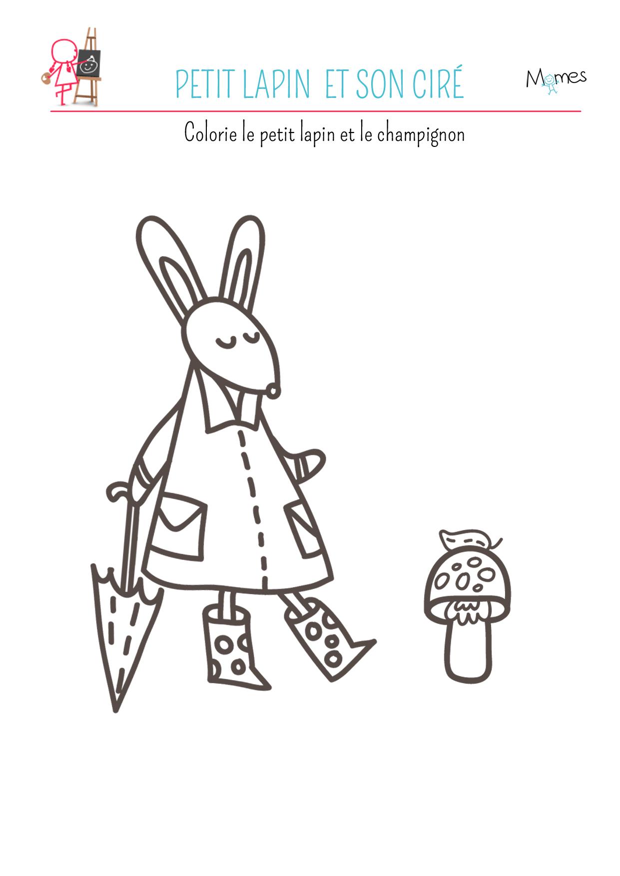 Coloriage Le petit lapin et son ciré