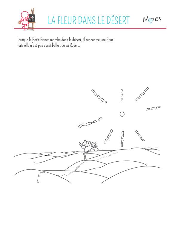 Coloriage le Petit Prince: le désert