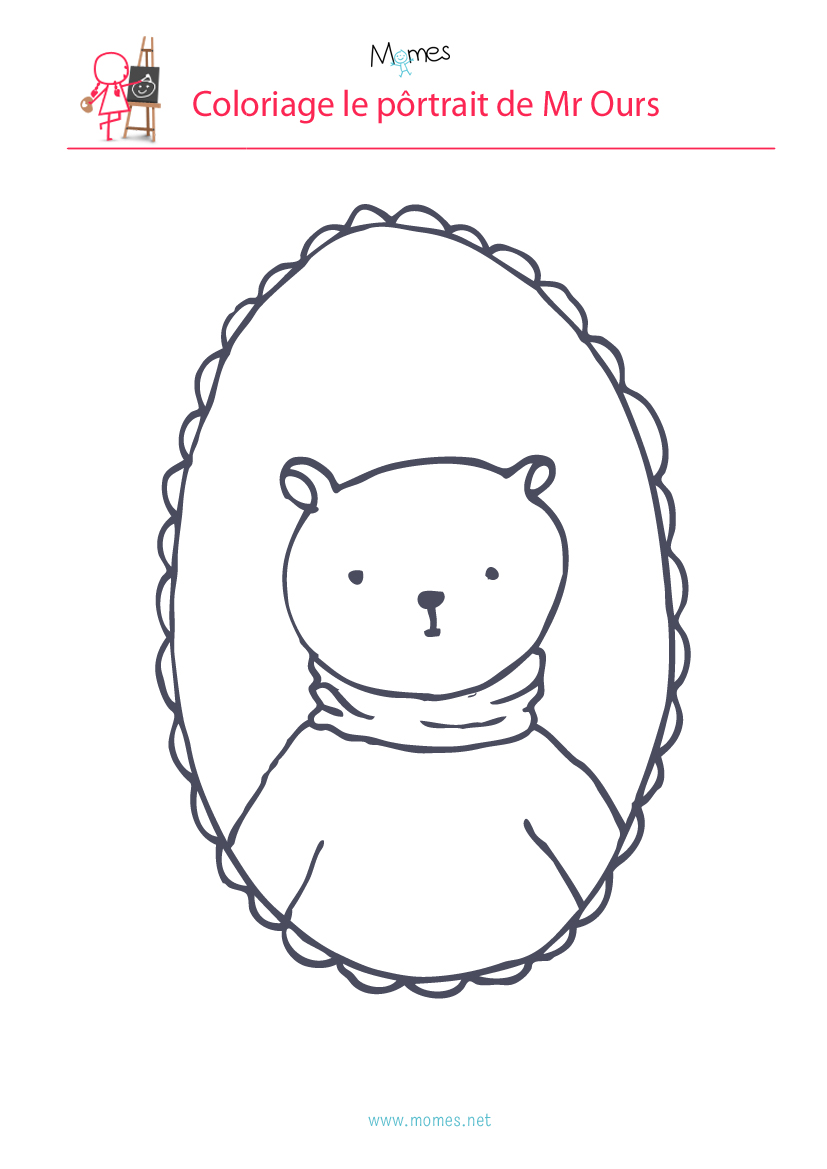 Coloriage le portrait de Mr Ours