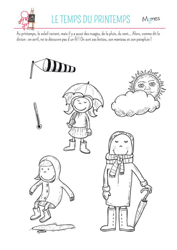Coloriage Avril Printemps.Coloriage Le Temps Du Printemps Momes Net