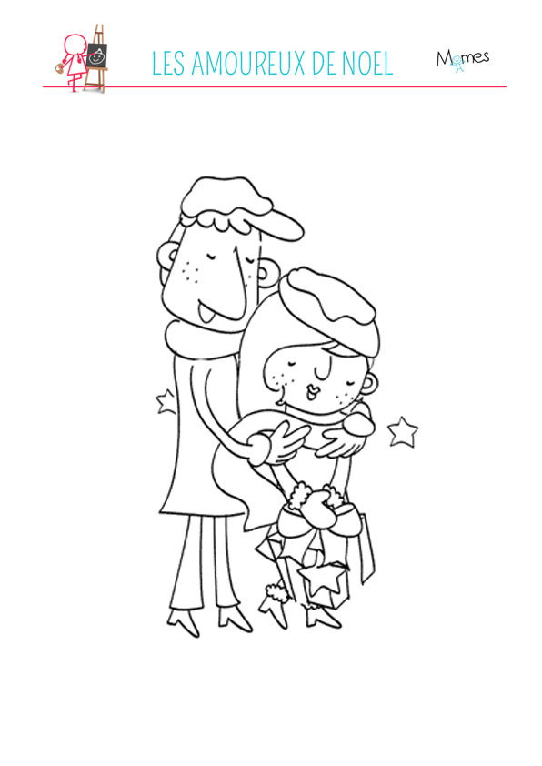 Coloriage Les amoureux de Noël