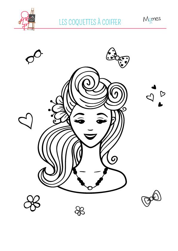 Coloriage : Les coquettes à coiffer 1