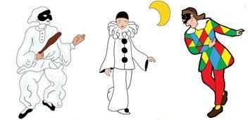 Coloriage Les personnages de la Comedia Dell'Arte