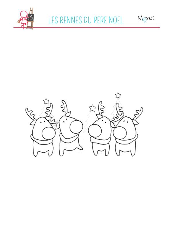 Coloriage Les rennes du Père Noël