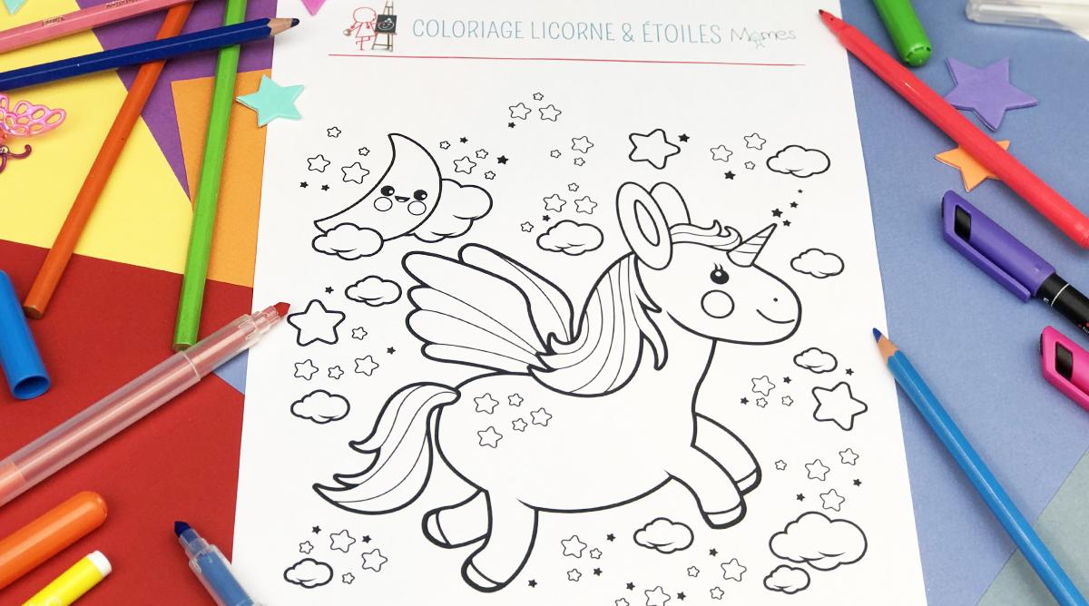 Coloriage Etoile De Pouvoir.Coloriage Licorne Etoiles Momes Net