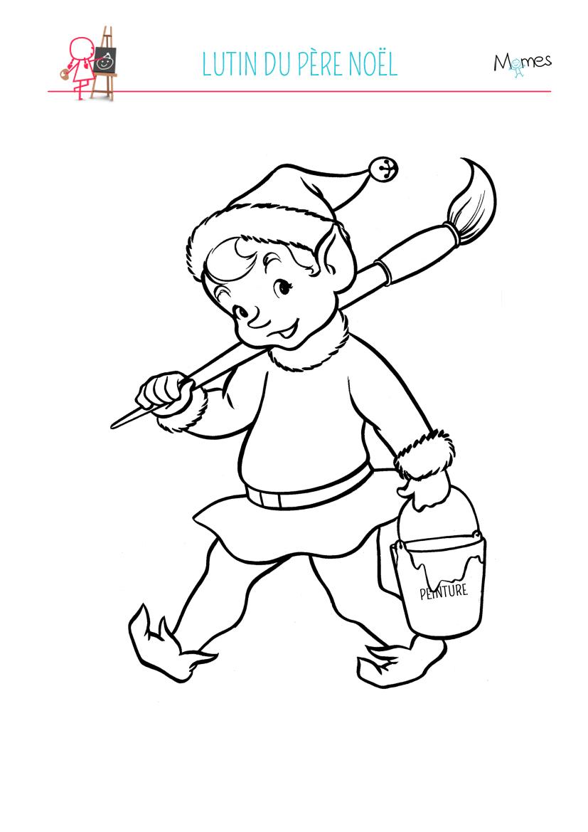 Coloriage lutin du Père Noël