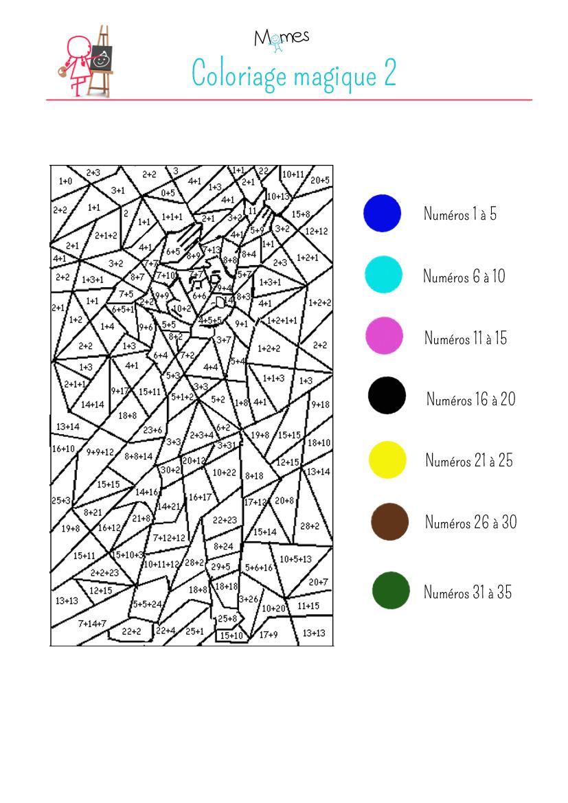 Coloriage magique 2 exercice - Coloriage 5 ans a imprimer ...