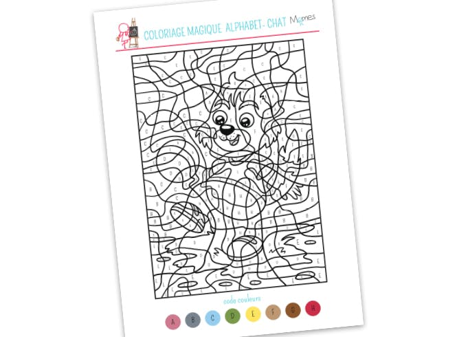 Coloriage Alphabet En Couleur.Coloriage Magique Alphabet Chat Momes Net