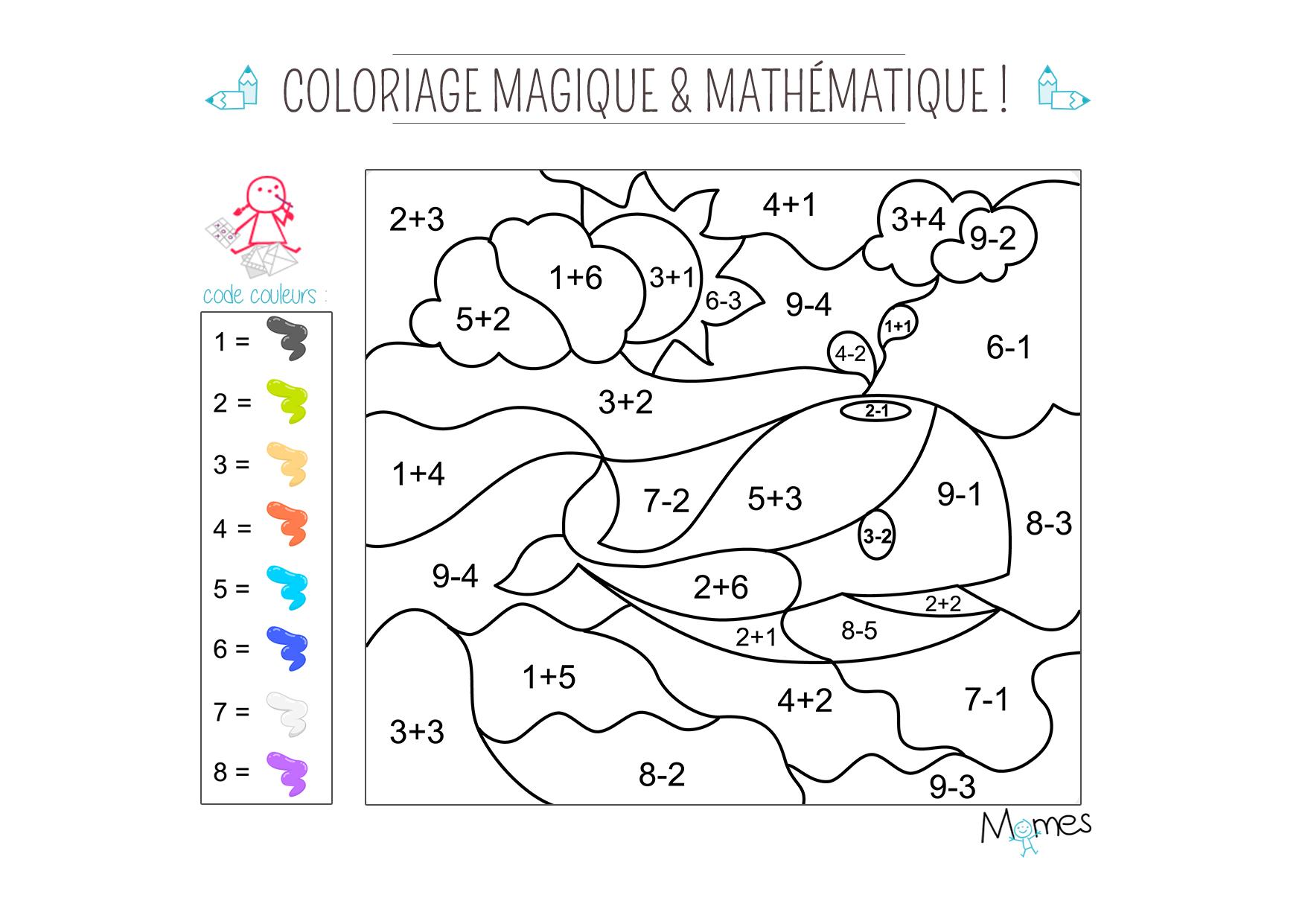 Coloriage magique et math matique la baleine - Coloriage mathematique ...