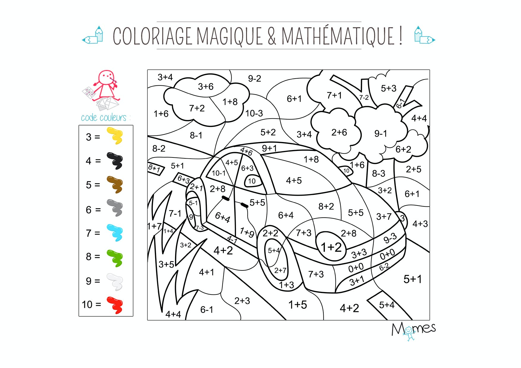 coloriage magique et math matique la voiture momes net. Black Bedroom Furniture Sets. Home Design Ideas