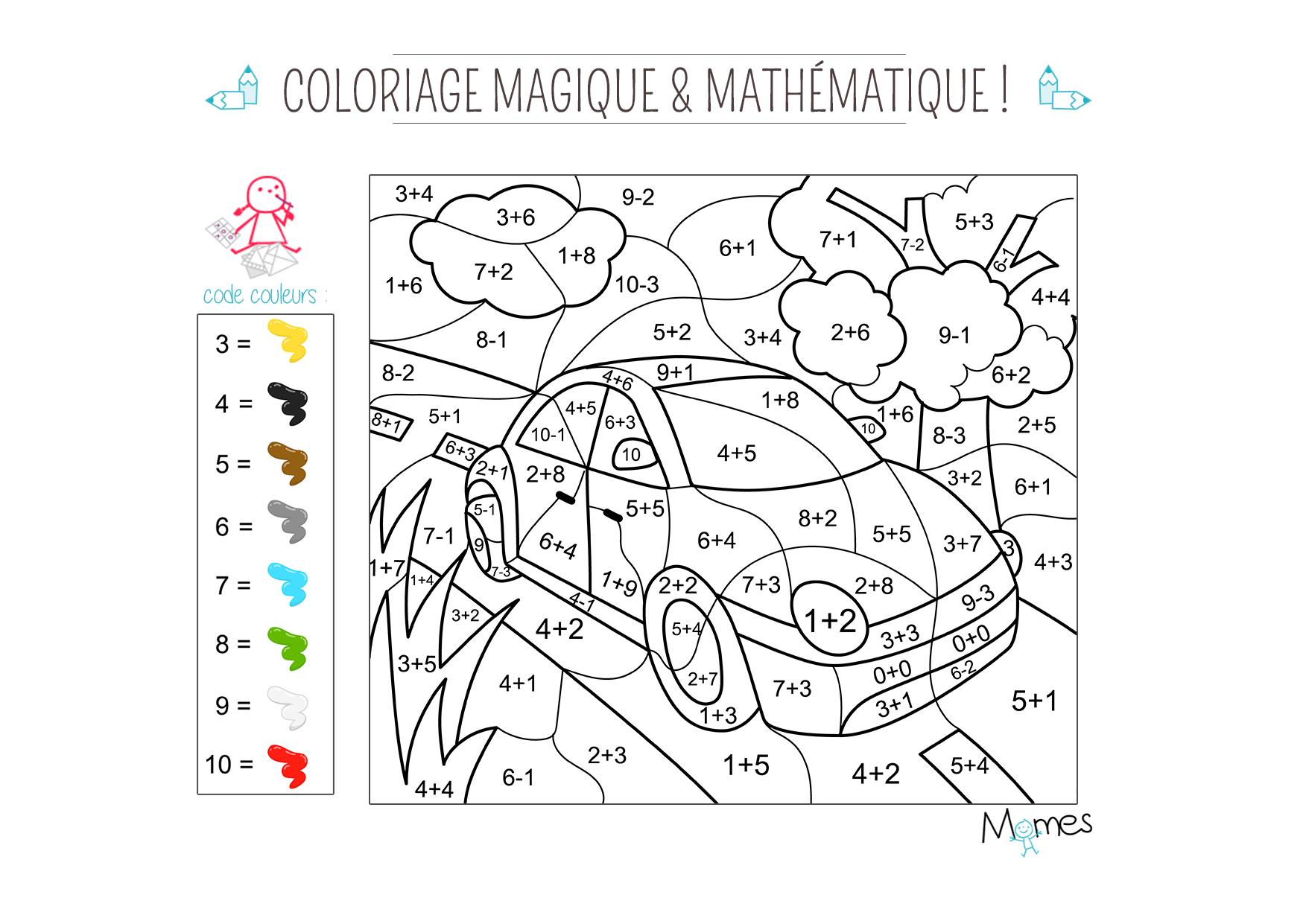 Coloriage Famille Magique.Coloriage Magique Et Mathematique La Voiture Momes Net