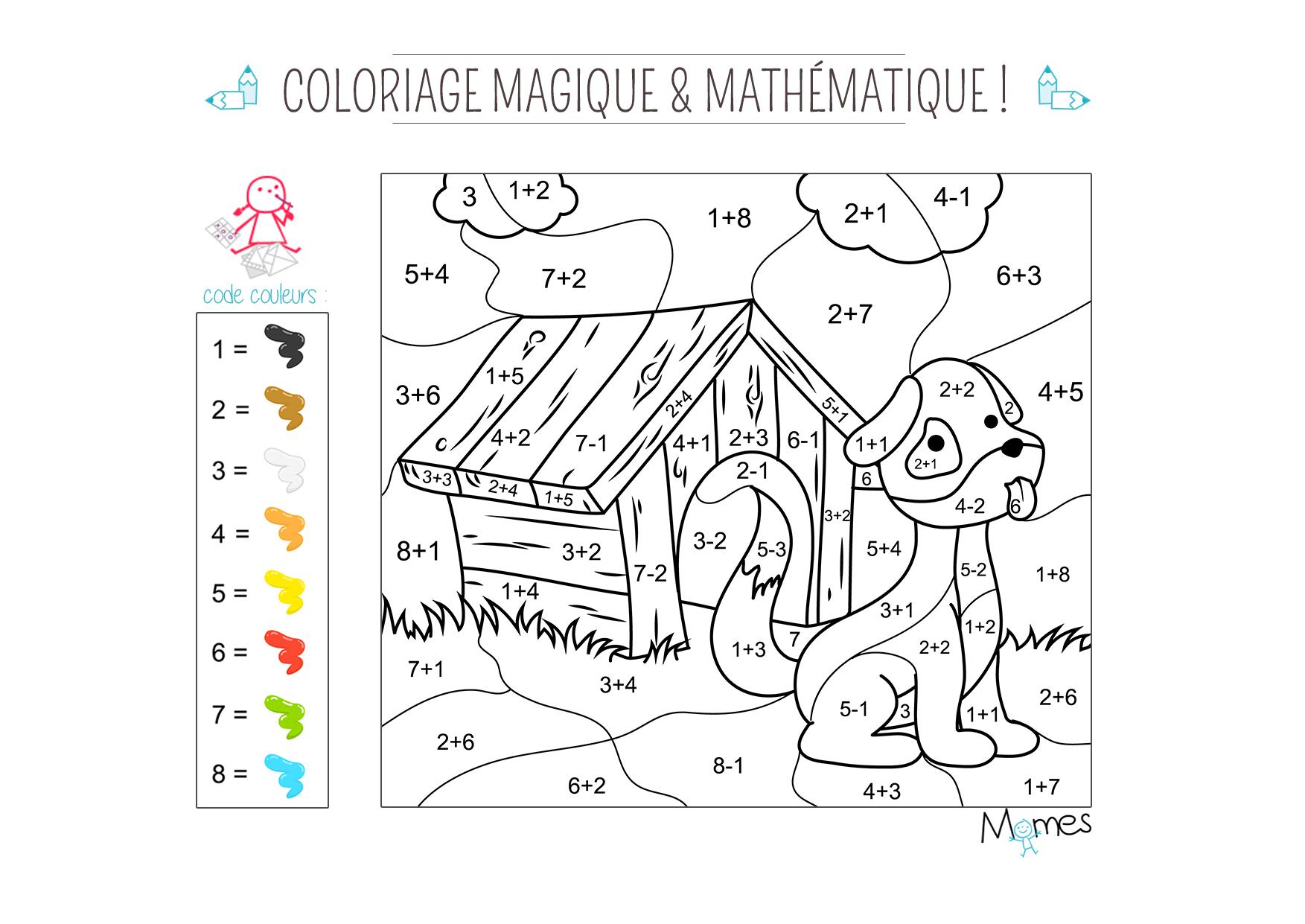 Coloriage magique et math matique le chien - Coloriages magiques additions ...