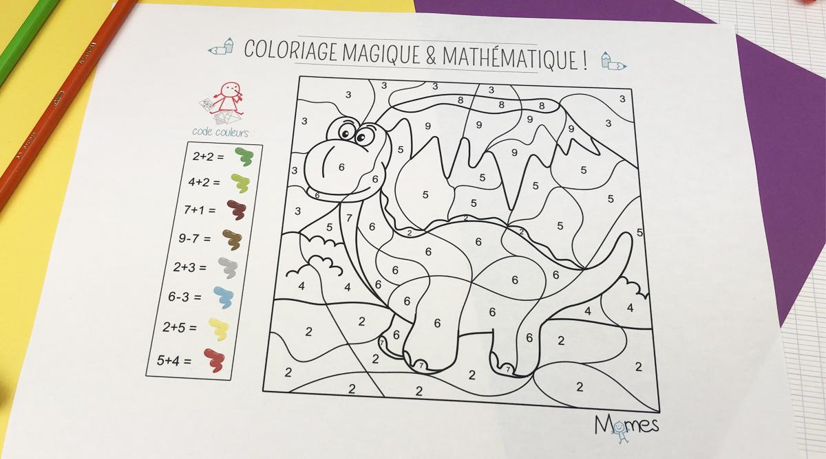 Coloriage Code Dinosaure.Coloriage Magique Et Mathematique Le Dinosaure Momes Net