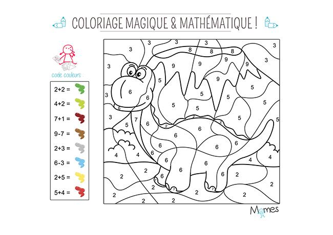 Coloriage magique et math matique le dinosaure - Coloriage mathematique ...