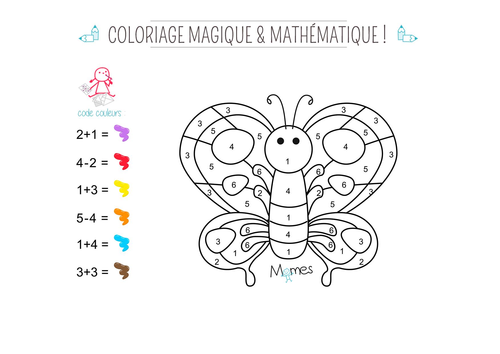 Coloriage magique et math matique le papillon - Coloriage mathematique ...