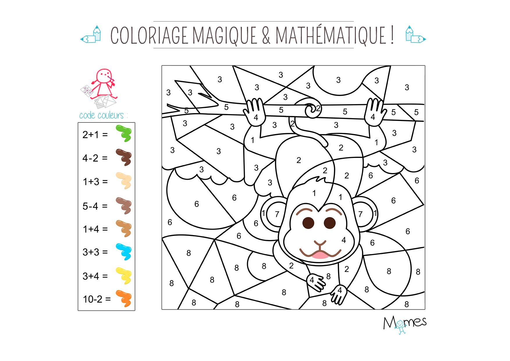 Coloriage magique et math matique le singe - Coloriage mathematique ...