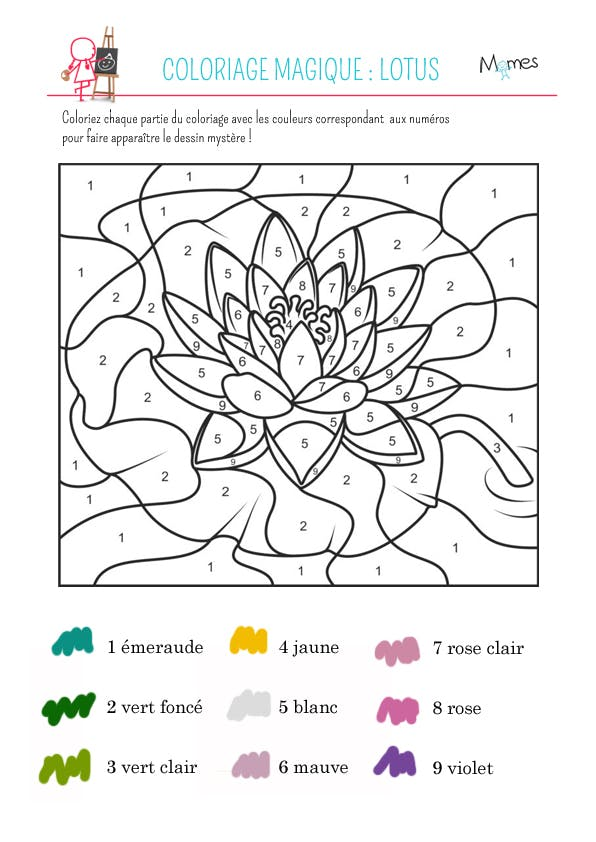 Coloriage magique le lotus - Coloriage fleur a imprimer ...