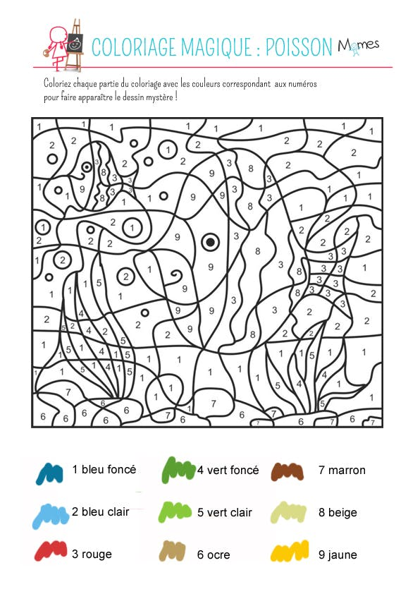 Favori Coloriage magique : le poisson - Momes.net QJ77