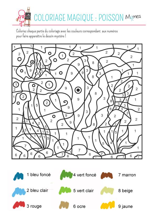Coloriage magique : le poisson - Momes.net