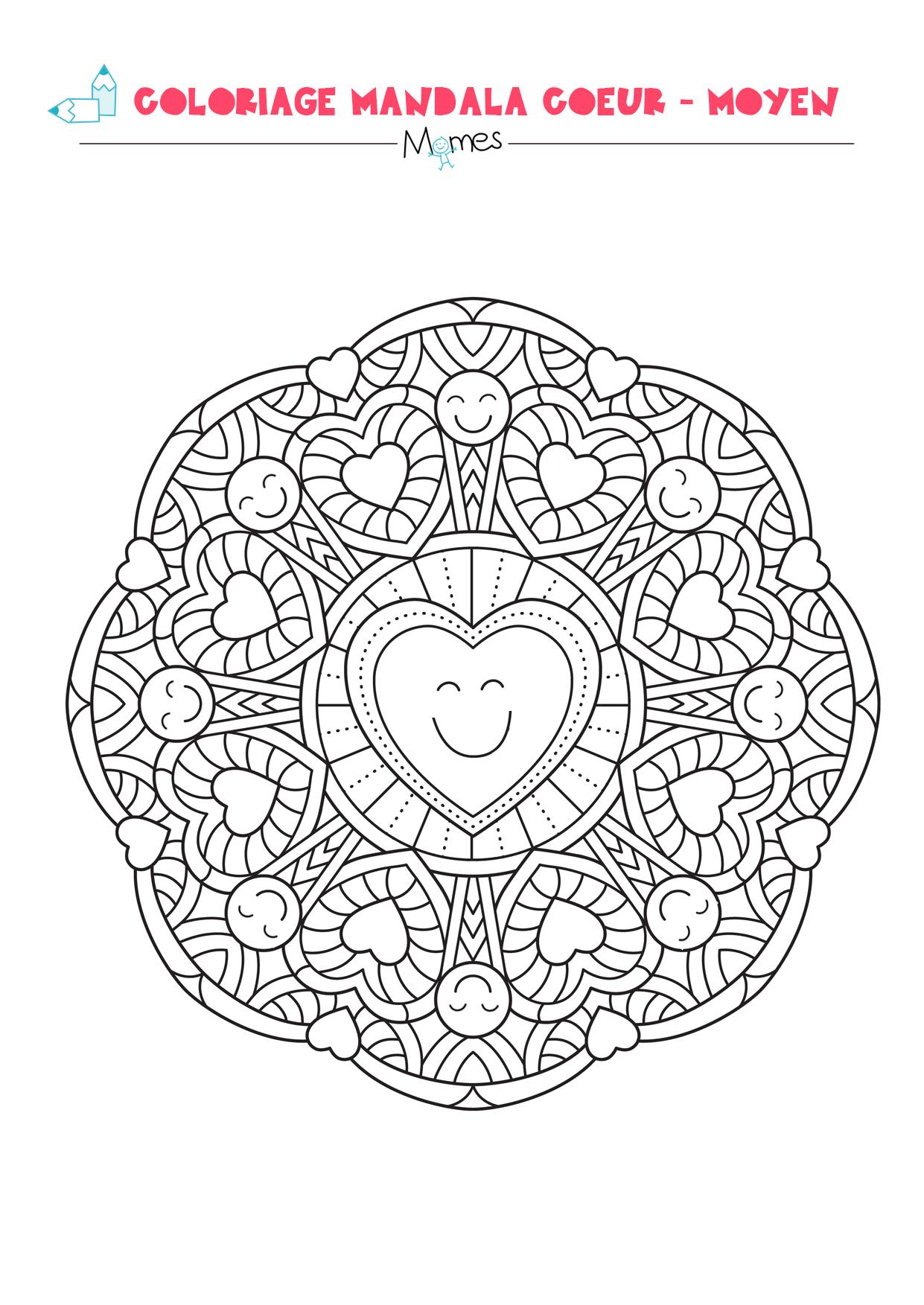 Coloriage mandala coeur moyen - Dessins de mandala ...