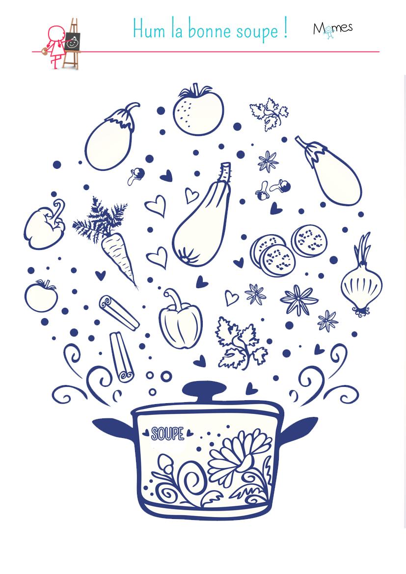 Coloriage Miam la bonne soupe !