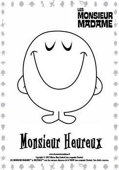 Coloriage Monsieur Heureux